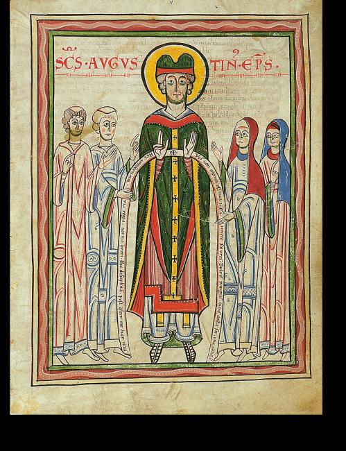 Fol. 5r: Der heilige Augustin, umgeben von Domherren und Stiftsdamen.