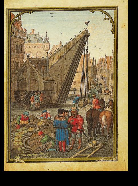 Fol. 11v: Monatsbild Oktober.  Die Szene zeigt die Place de la Grue im Zentrum von Brügge. Hier fand der Weinmarkt statt. Der stattliche Kran, ein Wunder seiner Zeit, bildet eine wirkungsvolle Silhouette vor  den Dächern von Brügge.