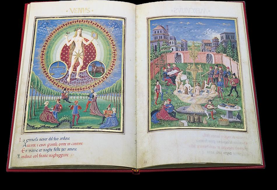 Folios 9v und 10r: Venus. Links die Göttin der Liebe, rechts der Lustgarten, der den angenehmen Einfluss der Venus auf die Sterblichen präsentiert.