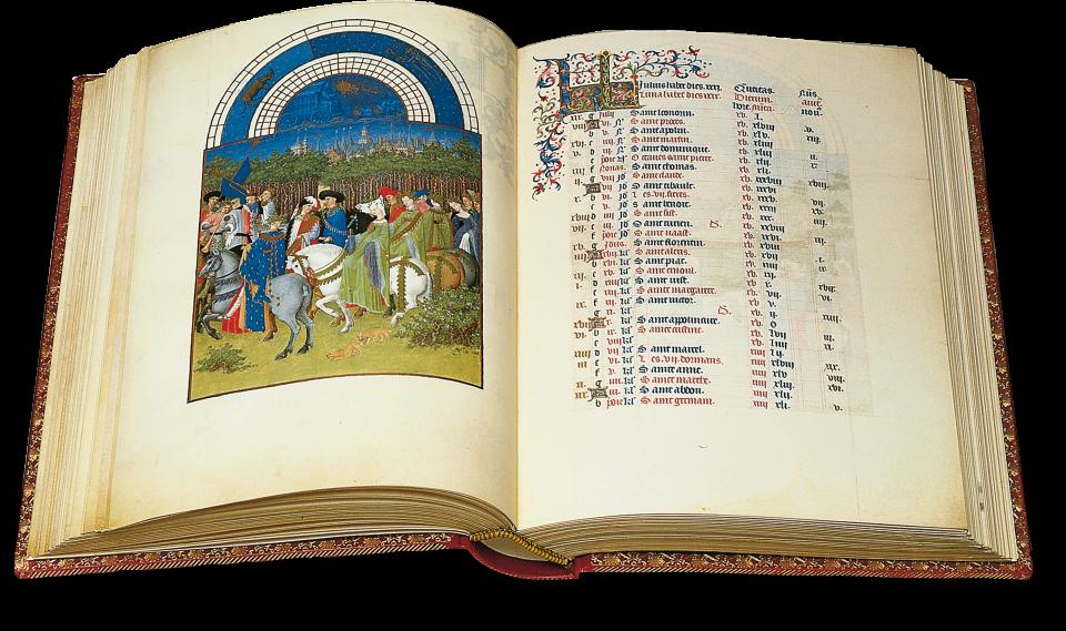 Der aufgeschlagene Band zeigt die Kalenderminiatur auf fol. 5v. Der Frühling wird mit einem ersten fröhlichen Ausritt willkommen geheißen.