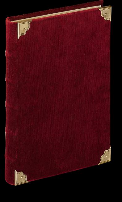Der heutige Originaleinband dient als Vorlage für den Faksimileband. Ein edler Goldschnitt und vier vergoldete Zierbeschläge aus Silber schmücken den Einband aus rotem Samt.