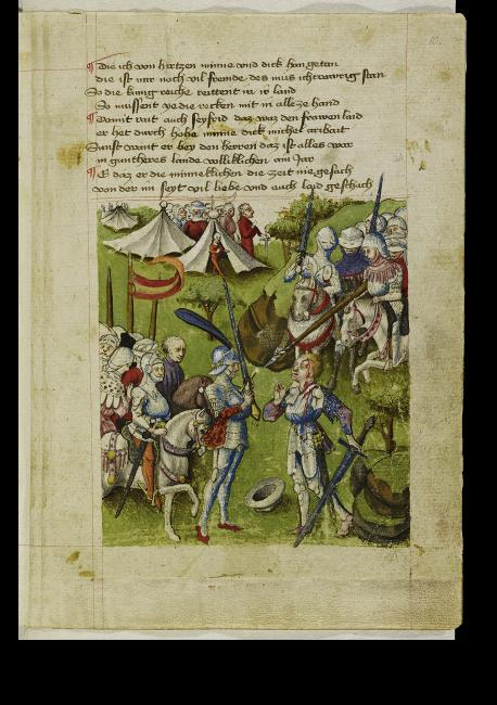 Blatt 10r. Der junge Held Siegfried besiegt den Dänenkönig Lüdegast im Kampf.