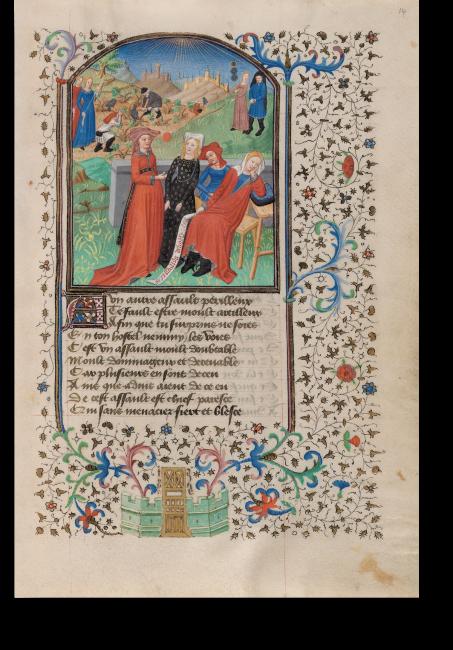 Fol. 14r: detaillierter Einblick in  die mittelalterliche Alltagswelt:  Die vier Personen im Bildvordergrund zeigen genau, wie sich  eine edle Dame zu Beginn des  15. Jahrhundert zu kleiden hatte.