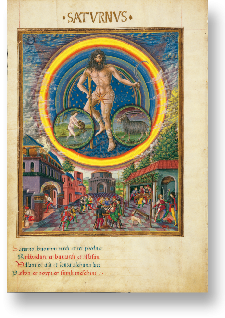 Fol. 5v: Saturn. Er wurde mit Alter und Tod in Verbindung gebracht, daher ist er in fortgeschrittenem Alter mit Krücke dargestellt. Die Sichel symbolisiert sein Zuständigkeitsgebiet: Landwirtschaft.