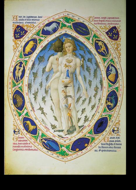 Fol. 14v: Der anatomische Mensch; Jean Limburg. Das Bild veranschaulicht den Einfluss der Sternbilder auf den Menschen. Es beschließt das Kalendarium der Très Riches Heures. Das Motiv ist für ein Stundenbuch der damaligen Zeit völlig einmalig.