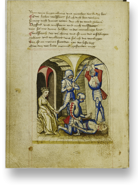 Blatt 154v: Das Nibelungenlied endet mit der vollständigen Vernichtung der Burgunder an König Etzels Hof.