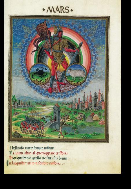Fol. 7v: Mars. Der Gott des Krieges wird von den Tierkreiszeichen Skorpion und Widder flankiert. Darunter sind Soldaten im Anmarsch und die Belagerung einer befestigten Stadt wird dargestellt.