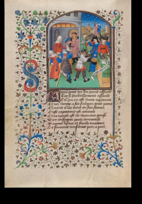 Fol. 15v: Largesse, Frau Freigebigkeit, neben den Lastern der Begehrlichkeit. Der Erzähler mit  Frau Vernunft an der Seite, beobachtet die Szene von hinten aus der Landschaft heraus.