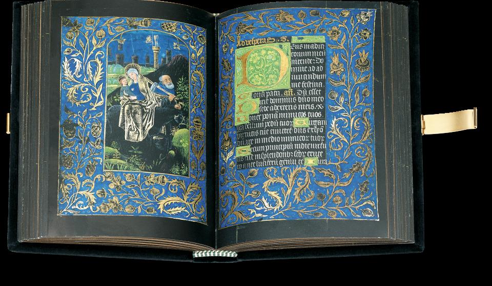Fol. 66v/67r: Der aufgeschlagene Band zeigt die Flucht nach Ägypten im Marienoffizium.