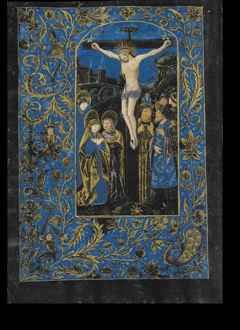 Fol. 14v: Kreuzigung.  Der Stil erinnert an Willem Vrelant. Die Dreiergruppe mit den beiden Marien und Johannes ist gekennzeichnet durch Trauer und Schmerz. Typisch flämischer Realismus zeigt sich in der Grobheit der Züge der Männer hinter dem Kreuz.