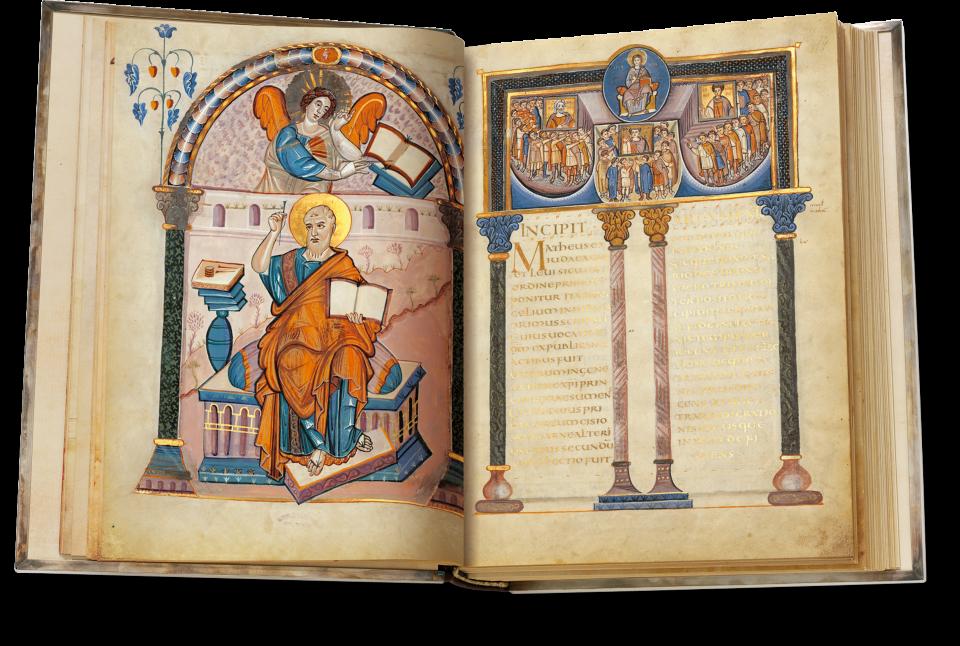 Fol.26/27, Prachtincipitseite des Matthäus-Evangeliums.