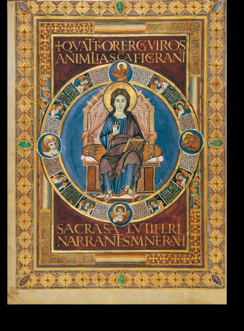 Fol. 18v, Christusbild. Die Purpurseite mit dem Bild Christi bildet die Anfangsseite des Evangeliums des Matthäus. Im Rahmen um den thronenden Christus sind die vier Evangelistensymbole zu sehen.