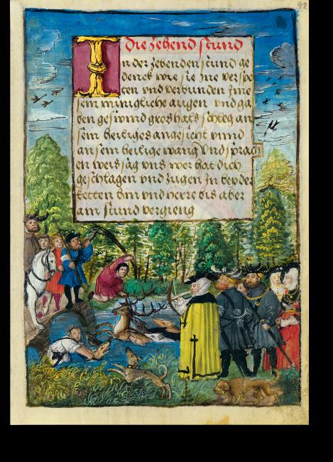 Fol. 42r: Eine fürstliche Hirschjagd. Die Dame im gelben Mantel mit der Armbrust könnte Susanna von Brandenburg darstellen, der Reiter am linken Bildrand Markgraf Kasimir.