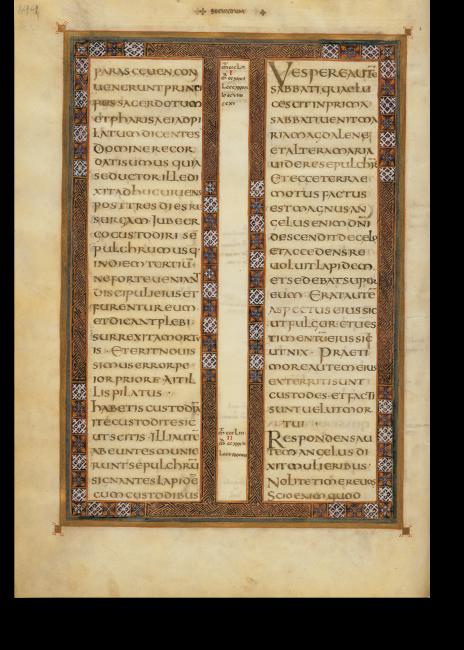 Folio 72v, Teil des Matthäus-Evangeliums zur Auferstehung Christi (Mt 27,62 – 28,5). Der Schmuckrahmen ist nur ein Beispiel für die überragende Vielfalt der Motive in den Rahmen, die sich kein einziges Mal wiederholen.