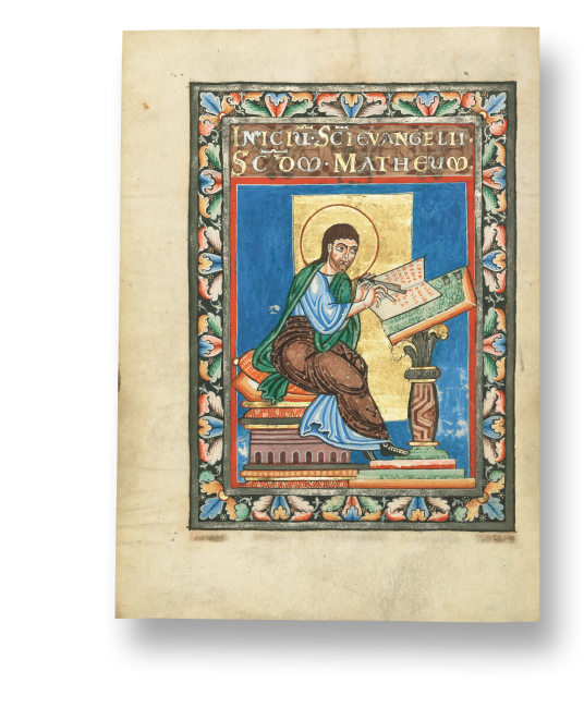 Der heilige Matthäus am Schreibpult. Evangeliar, Ms. Ludwig II 3, Fol. 9v
