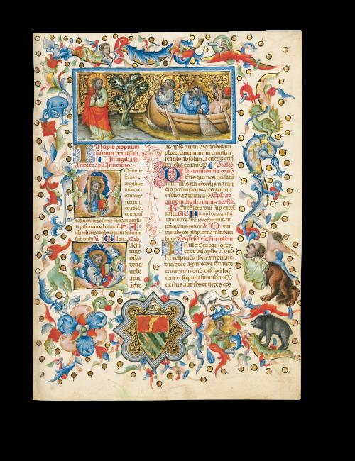 Die Berufung des heiligen Petrus und Andreas. Initiale D: heiliger Andreas. Initiale Q: heiliger Petrus. Missale, Ms. 34, Fol. 172a