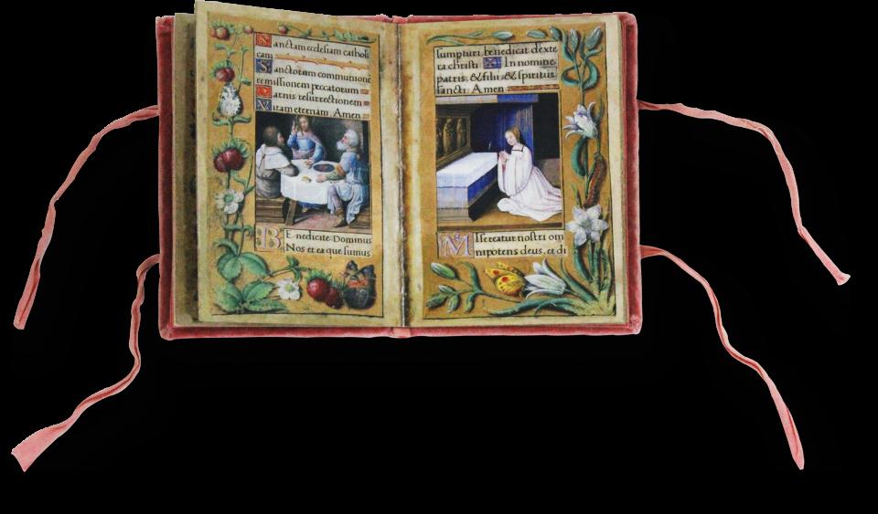 Fol. 7v/8r: Links eine der schönsten Miniaturen der Handschrift: Das Emmausmahl. Rechts ein Bildnis der jungen Renée de France im Gebet.