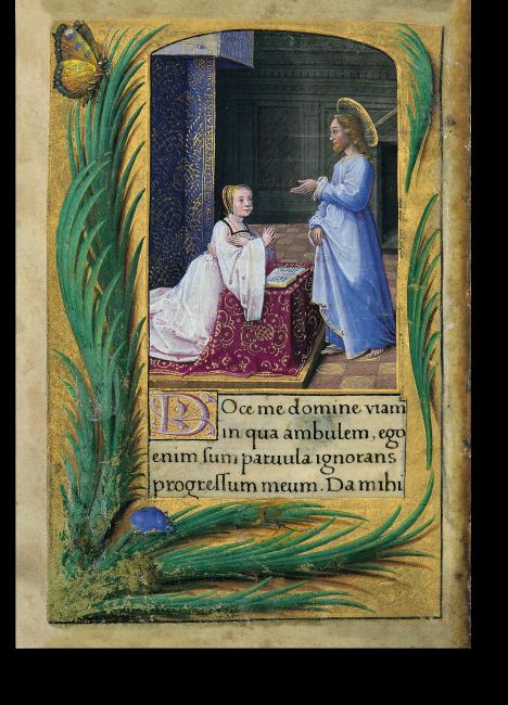 Fol. 9v: Bildnis der Renée de France. Die Prinzessin ist auf einer Gebetsbank kniend dargestellt, vor ihr ein geöffnetes Buch, Christus segnet sie.