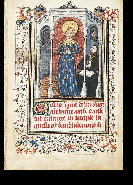Fol. 13v: Die Madonna im Ährenkleid. Eine sechseckige Aedicula beherbergt die Madonna im Ährenkleid und den in Andacht an seinem Betpult knienden Herzog Philipp von Burgund.