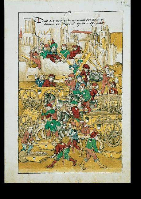 S.545: Wiederaufbau Berns nach dem großen Stadtbrand 1405.