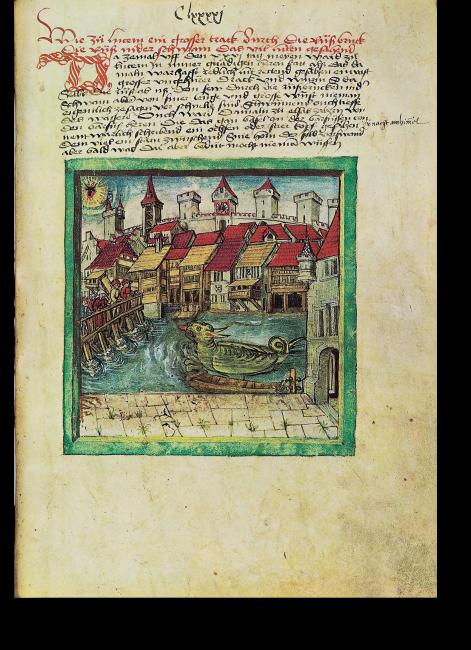 Fol. 191r: Luzern, 26. Mai 1499: von der Reußbrücke aus wurde ein Drache gesehen. Im Elsass wurde ein Stierkopf mit einem Stern zwischen den Hörnern gesehen.