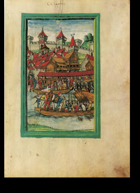 Fol.278r: Luzerner Söldner schiffen sich beim Hoftor unter einer Freifahne ein, um in französische Dienste zu ziehen.