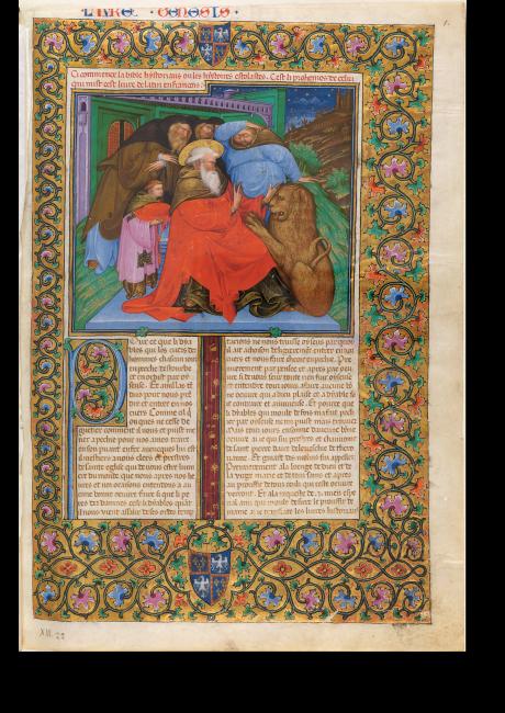 Heiliger Hieronymus, Bibel des Niccolò d'Este (Bibbia Estense), Barb. lat. 613, fol. 1r, Ferrara, 1430–1434; eine Rarität, denn der Text ist nicht in Lateinisch, sondern in der Volkssprache verfasst und mit reichen Illustrationen ausgestattet