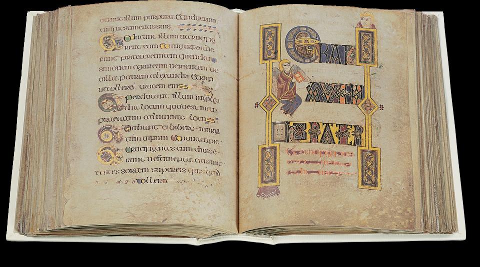 Fol. 182v/183r: Textzierseite, Beginn des Berichtes zur Kreuzigung nach Markus (15,24).