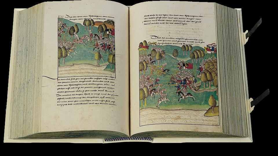 S. 542/43: Die Schlacht von Grandson im Jahr 1476 zwischen den Eidgenossen und Herzog Karl dem Kühnen von Burgund, die für den Herzog eine vernichtende Niederlage bringt.