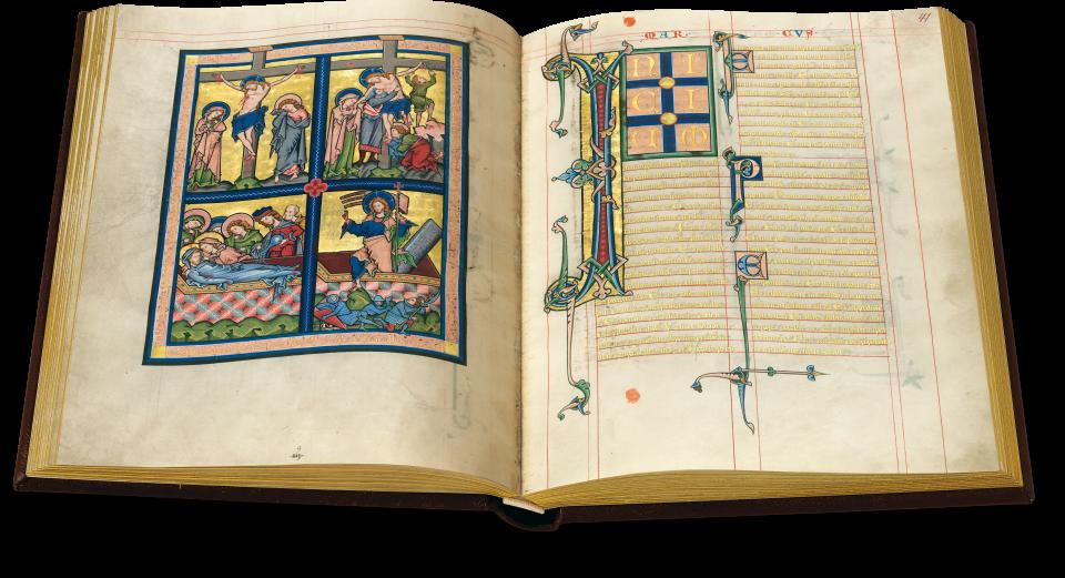 Fol. 40v/41r: Als grandioses Schlussbild des Matthäus-Evangeliums ist das Ende der Passionsgeschichte in diesen vier Einzelbildern konzentriert. Eine prächtige Initiale leitet auf Fol. 41r das Markus-Evangelium ein.