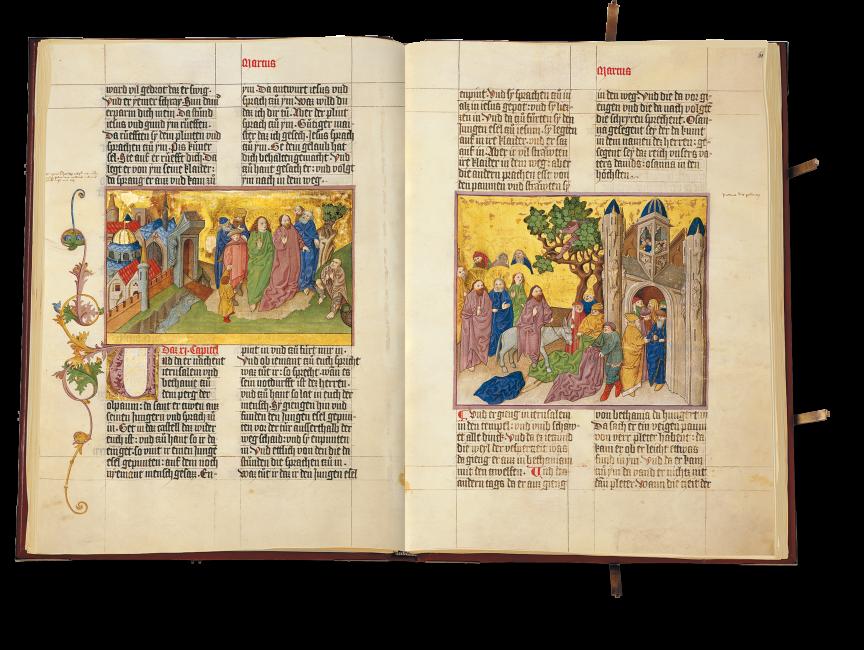 Der aufgeschlagene Band zeigt auf fol. 60v: Die Heilung des Blinden vor den Toren Jericho; fol. 61r: Der Einzug in Jerusalem