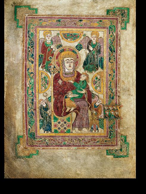 Fol. 7v: Die Muttergottes mit dem Kind am Beginn des Matthäusevangeliums. Diese Darstellung ist für ein Evangeliar äußerst ungewöhnlich.