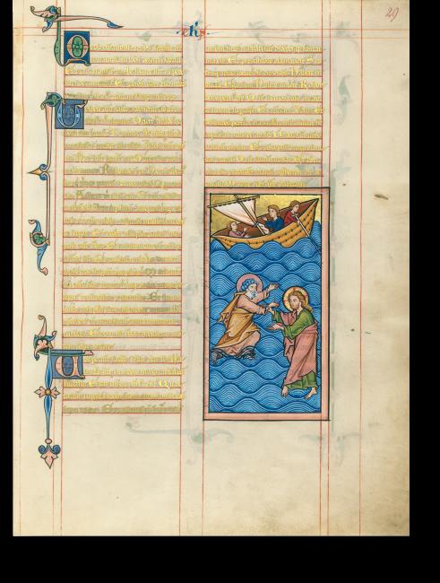 Fol. 29r: Das leuchtende Blau der bewegten See füllt fast das gesamte Bild aus. In Panik gestikuliert der versinkende Petrus, während Christus mit tänzerischer Eleganz auf dem Wasser wandelt und ihn mit einem Griff vor dem Ertrinken rettet.