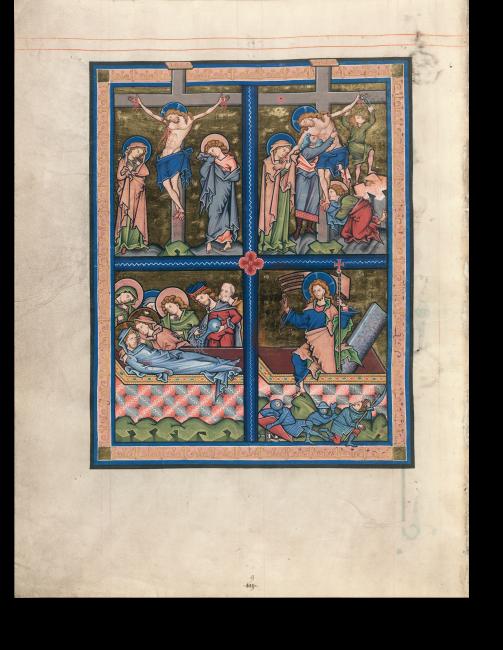 Fol. 40v: Jesu Tod am Kreuz, Kreuzabnahme, Grablegung und Auferstehung. Jedes Bild besteht als in sich geschlossene Eigenkomposition, doch fügt das blaue Kreuz im Zentrum die vier Szenen wie Einzelscheiben zu einem Kirchenfenster zusammen.