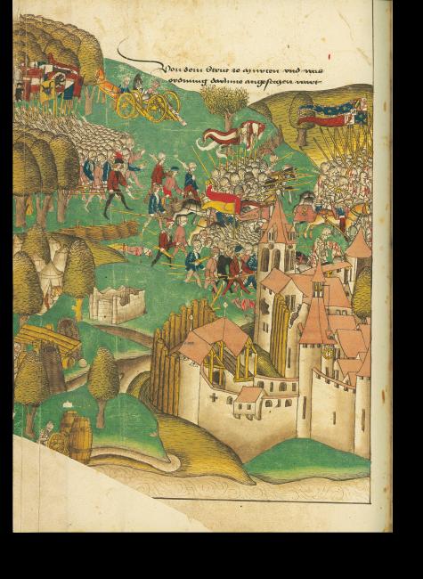 S. 654: Überraschender Angriff des eidgenössischen Heers in der Schlacht gegen die Truppen Karls des Kühnen