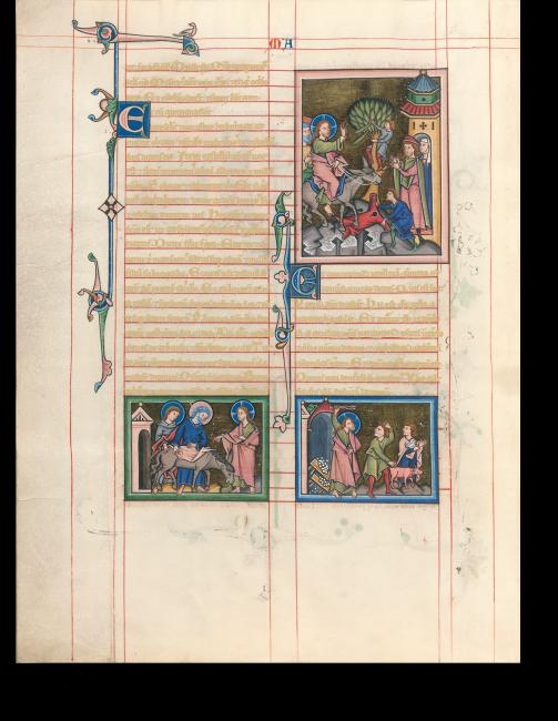 Fol. 33v: Petrus und Johannes führen die Eselin zu Christus, Einzug nach Jerusalem, Austreibung aus dem Tempel.