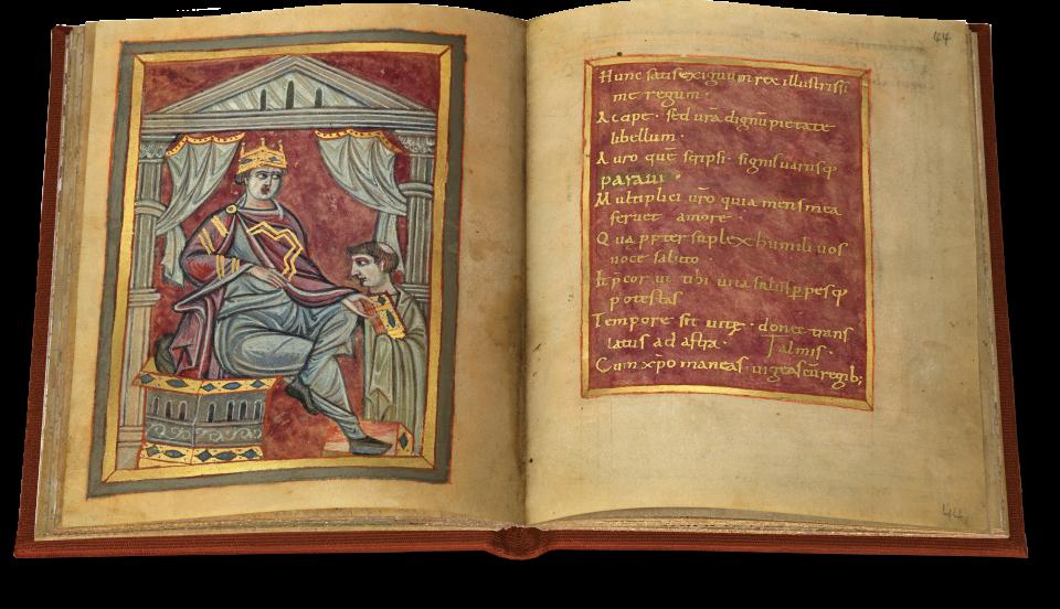 Der offene Band zeigt fol. 43v/44r mit der Überreichung des Buchs an den König und auf der rechten Seite die Widmung des Schreibers.