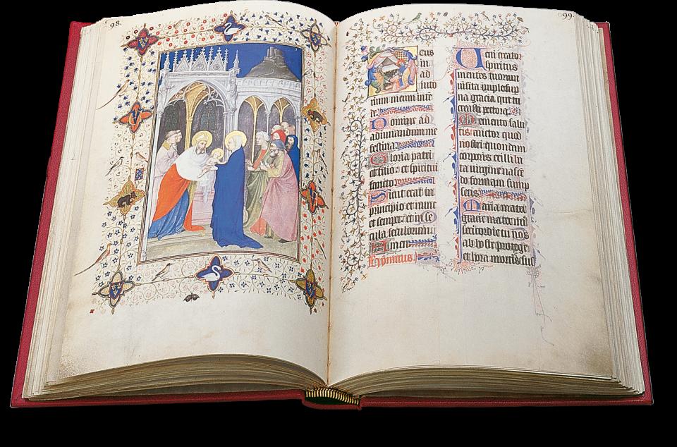 Der aufgeschlagene Band zeigt die Miniaturen auf p. 98: Die Darbringung Christi im Tempel.