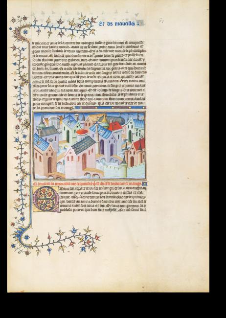 Fol. 67r: Quinsay, die »Stadt des Himmels«, von zahlreichen Kanälen durchzogen, mit 12.000 Steinbrücken. Um die enorme Größe der Stadt wiederzugeben, wählte der Maler bewusst nur einen Ausschnitt.