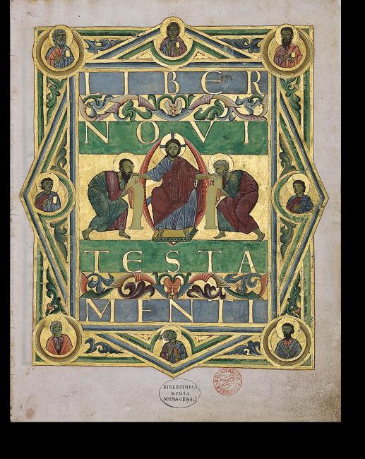 Fol. 1r: Titelseite LIBER NOVI TESTAMENTI. Die Titelinschrift ist unmittelbar mit einem Titelbild verbunden: Christus, der den Apostelfürsten Petrus und Paulus das Neue Testament überreicht.