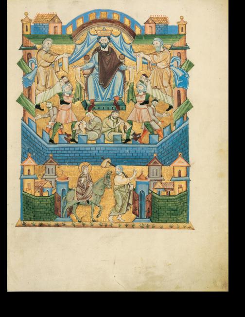 Fol. 3r: Im oberen Teil wird dargestellt, wie das Edikt von Kaiser Augustus, »dass alle Welt geschätzt würde«, aufgeschrieben und verbreitet wird. Im unteren Teil ziehen Joseph und Maria in Befolgung des Gebots nach Bethlehem.