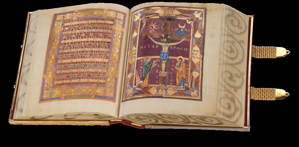 Fol. 14v/15r: Der aufgeschlagene Band zeigt den Schluss des Gebets Vere Dignum und das Sanctus als Zierseite sowie die Kreuzigung Christi.