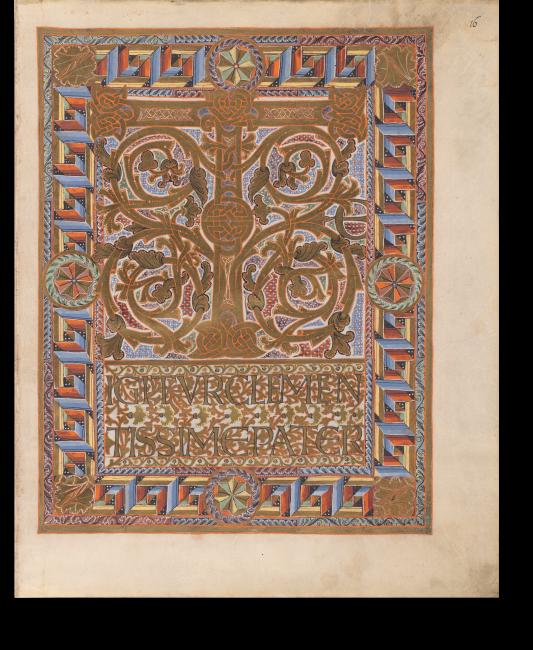 Fol. 16r: Beginn des Gebets Te igitur. Geläufige Motive und Möglichkeiten der Verzierung setzte der Illuminator hier gleichzeitig ein, was diese Zierseite zum Höhepunkt des Codex macht.