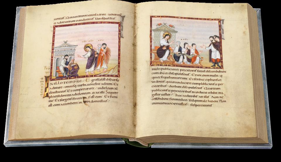 Fol. 28v/29r: Die Berufung des Zöllners Levi und das sich anschließende Gastmahl. Die Bilder illustrieren gemeinsam eine Perikope, die mit einer großen Initiale aus Gold und Silber beginnt.