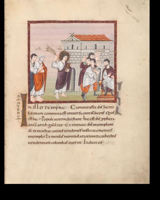 Fol. 34r: Tempelreinigung. Jesus, gefolgt von zwei Aposteln, schwingt die Geißel. Vor ihm fliehen drei Männer: der obere rettet die Tauben, der vordere birgt einige Münzen.