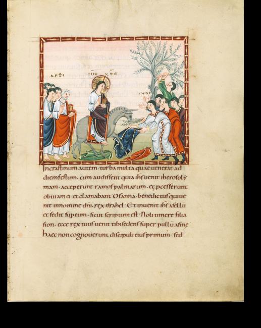 Fol. 66r: Einzug Jesu in Jerusalem. Jesus trägt das Buch in der Linken, mit der Rechten macht er den Segensgestus. Er reitet auf dem Füllen der Eselin, das mit einem roten Tuch bedeckt ist.