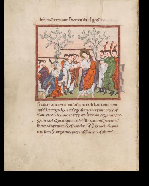 Fol. 79v: Gefangennahme Jesu. Mehrere Einzelszenen sind zusammengezogen: Judas küsst Jesus, die Knechte nehmen Jesus fest, Petrus schlägt Malchus mit dem Schwert, Jesus tadelt ihn dafür, die Jünger fliehen.