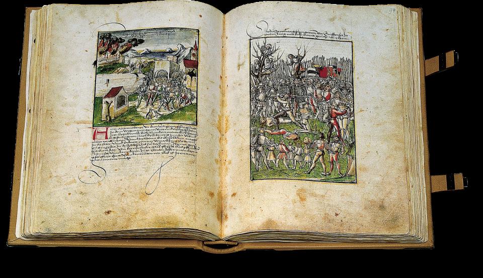 Fol. 93v/94r: Gefangennahme und Hinrichtung der Besatzung von Greifensee durch die Eidgenossen 1444.