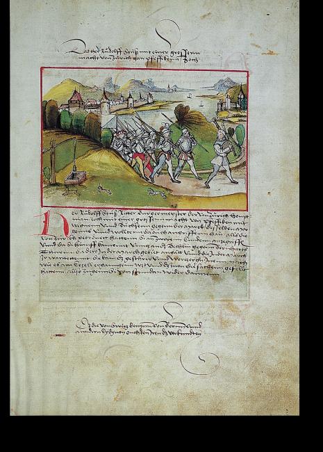 Fol. 16r: Der Ritter Rudolf Stüssi, Bürgermeister und Hauptmann von Zürich, zieht mit einer Streitmacht nach Pfäffikon. Dies spielte sich im Jahre 1437 im Rahmen der innereidgenössischen Auseinandersetzungen des Alten Zürichkriegs ab.