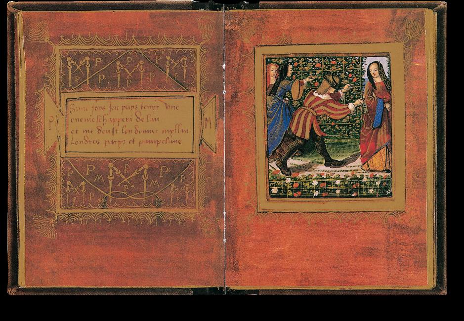 Der aufgeschlagene Band zeigt die Miniatur auf fol. 7r: Drei Hofdamen und ein Edelmann beim Blindekuhspiel in einem Rosengarten.